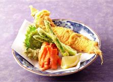 あなご一本揚げと野菜の天ぷら